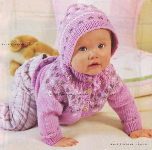 Розовый жакет, шапочка и носочки