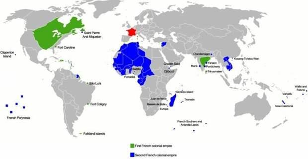 Французская колониальная империя. Светло-зеленым цветом обозначены территории, отобранные у Франции в XVII-XVIII веках Великобританией