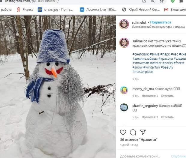 Фотокадр: в Лианзовском парке поселился необычайно красивый снеговик