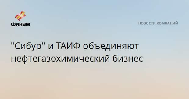 """""""Сибур"""" и ТАИФ объединяют нефтегазохимический бизнес"""
