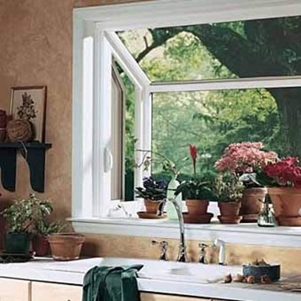 использование кухонного окна как сад на подоконнике