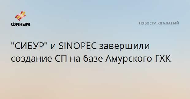 """""""СИБУР"""" и SINOPEC завершили создание СП на базе Амурского ГХК"""