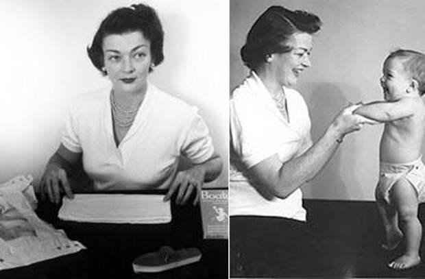 Марион Донован (Marion Donovan) в 1917 году села за швейную машинку с душевой занавеской и после нескольких попыток создала водонепроницаемое покрытие для подгузника.