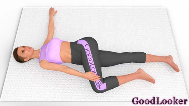 Скручивание корпуса лежа