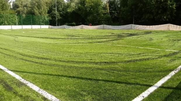 На футбольном поле в парке «Яуза» уложили новый газон