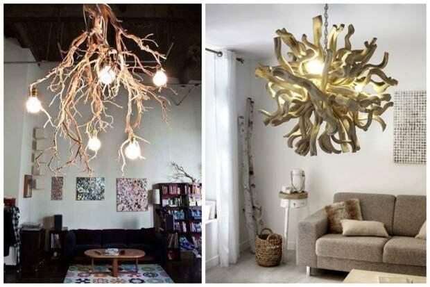 Что нам посветит? Конечно люстры, подсвечники, торшеры и прочие лампочки Фабрика идей, дом, коряги, красота, мастерство, мебель, палки, уют