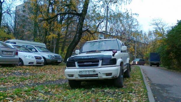 Трех автовладельцев из Подольска оштрафовали за парковку на газонах