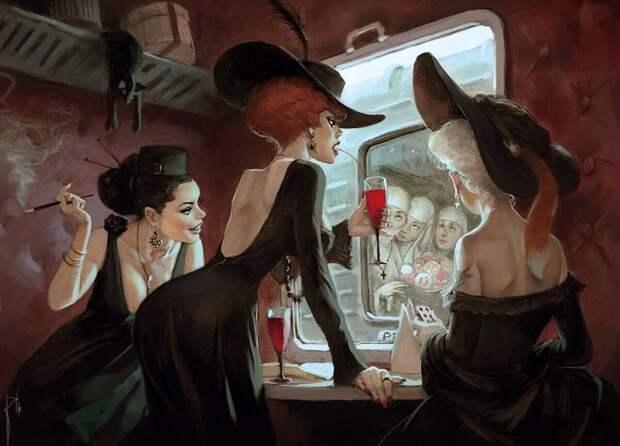 Нуар-фантазия на сказочную тему: три девицы под окном - от Вальдемара Казака