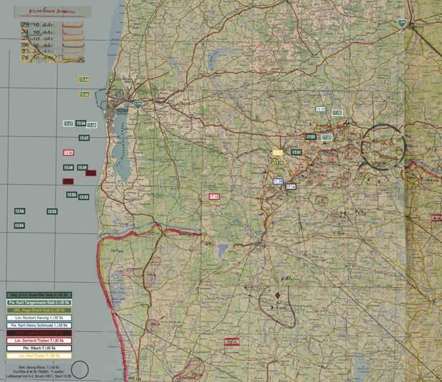 Схема распределения заявок немецких лётчиков 28 октября 1944 года. Эмблемами обозначены аэродромы базирования групп I./JG 54 и II./JG 54. Советские полки 11-й ШАД ВВС КБФ базировались на аэродромах в районе Паланги. Аэродромы базирования армейских штурмовых дивизий находились за пределами карты, в общем направлении на юго-восток от Приекуле. Для просмотра карты-схемы в максимальном размере нажмите на неё, затем откройте изображение в новой вкладке и кликните по нему левой клавишей мыши - Рекорды Эриха Рудорффера: от Туниса до Прибалтики | Военно-исторический портал Warspot.ru