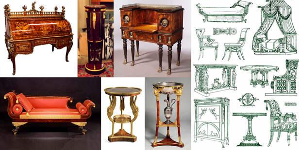 Ампирная мебель с египетскими элементами. Источник изображения: roskosh-jewel.ru