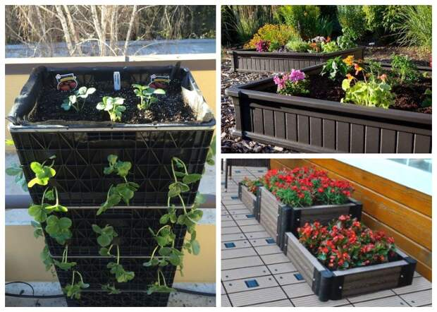 Мобильный огород или клумбы можно создать из обычных пластиковых ящиков или специальных контейнеров.