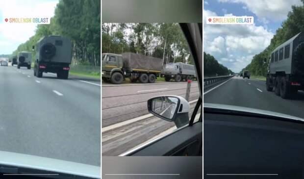 Колонна российской военной техники без опознавательных знаков идет в Беларусь