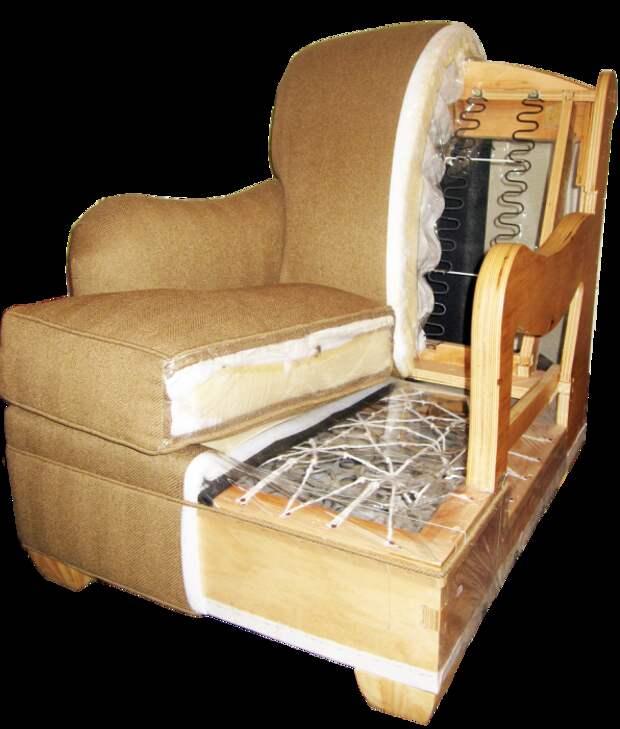 Прежде чем приступать к перетяжке старого кресла надо тщательно изучить его строение. | Фото: obivka-mebeli.by.