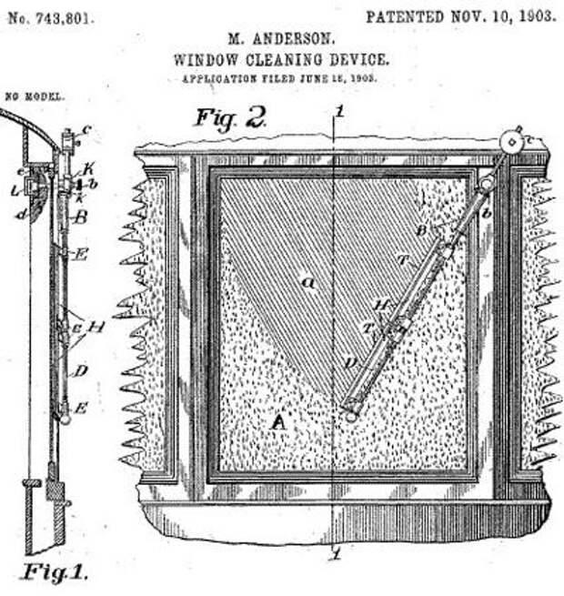 Первые дворники для автомобиля изобрела Мэри Андерсон (Mary Anderson) в 1903 году, - ей стало жалко водителя, который вынужден был во время вьюги поминутно останавливать машину и сгребать снег с ветрового стекла.