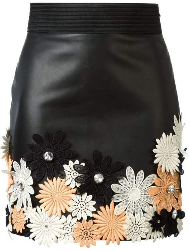 Emanuel Ungaro мини-юбка с цветочной аппликацией