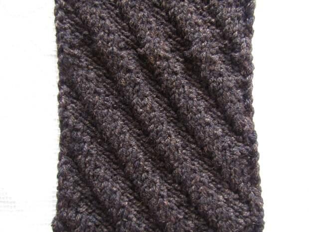Мужской шарф за 3 часа (узор «Диагональ»)