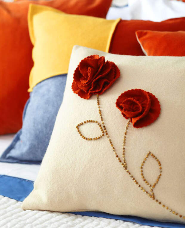 Аппликации с цветами для подушки