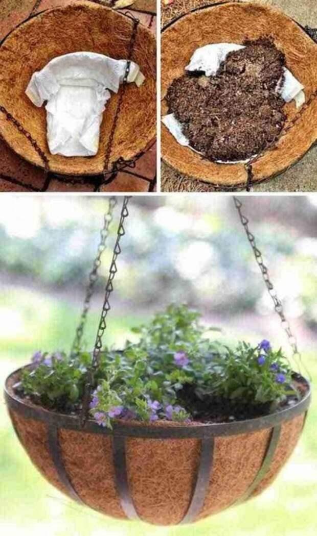 Использование памперса в таких целях нужно для того, чтобы, когда вы польете цветок, вода вам на голову не капала, а так же памперс будет держать воду и цветок во влаге пробудет дольше.