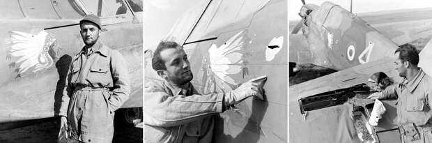 Марсель Эбрар — один из лучших лётчиков, служивших во французской авиагруппе GC II/5. На его счету две личные и пять групповых побед, одержанные во время боёв во Франции в мае 1940 года. На фото он рассматривает повреждения своего «Киттихока», полученные в бою 9 февраля 1943 года. Отметина на фюзеляже оставлена 7,92-мм пулей, в то время как в хвостовое оперение угодил 20-мм снаряд - Рекорды Эриха Рудорффера: от Туниса до Прибалтики | Военно-исторический портал Warspot.ru