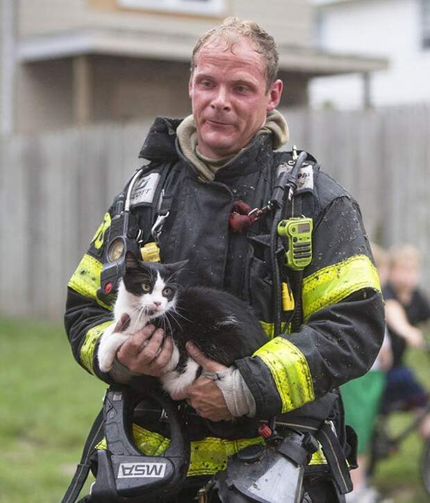 Пожарные, которые спасли домашних животных