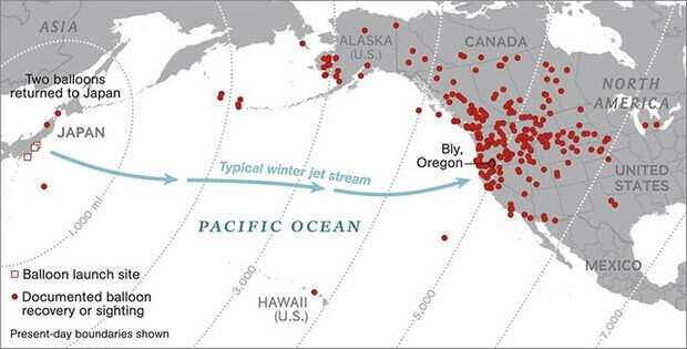 Схема пролета стратегических шаров. Красным отмечены точки, где они были найдены или замечены