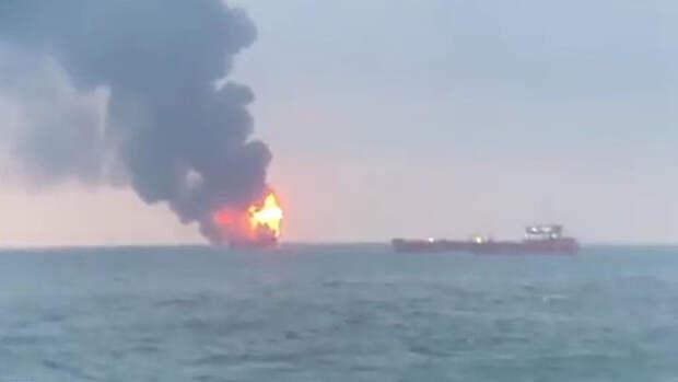 В Керченском проливе загорелись 2 судна, число жертв оценивается от 11 до 17 человек