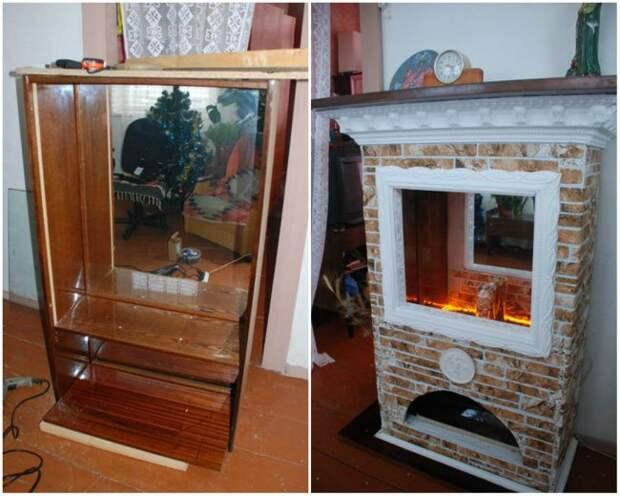 Совсем необычное, но и неплохое решение для старого серванта мебель, новая жизнь, переделка, старье