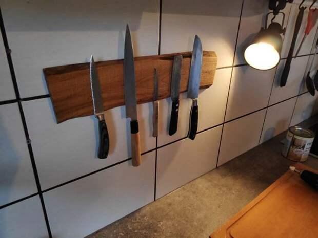 Вот и всё, ваша магнитная доска для кухонных ножей готова доска, кухня, ножи, полезное, своими руками, сделай сам