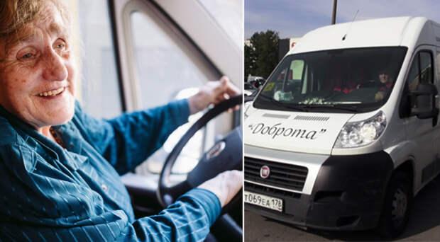 80-летняя блокадница каждый день садится за руль фургона, чтобы помочь инвалидам Санкт-Петербурга