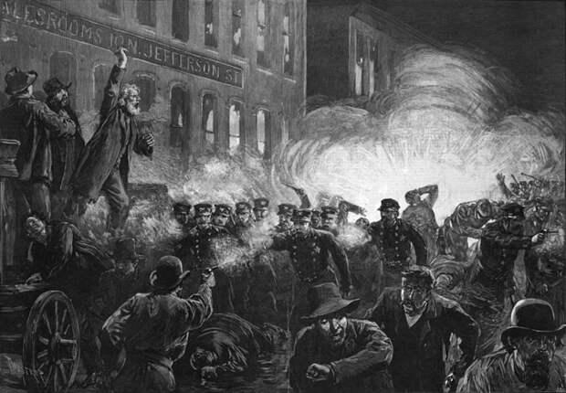 Бунт на Хеймаркет. Гравюра 1886 года