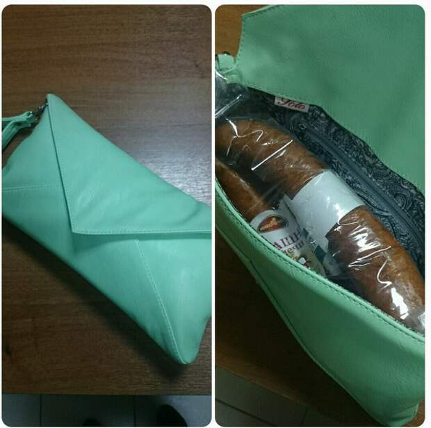 Колбаса - самое распространенное содержимое дамских сумок  девушки, женская сумочка, женщины, прикол, юмор