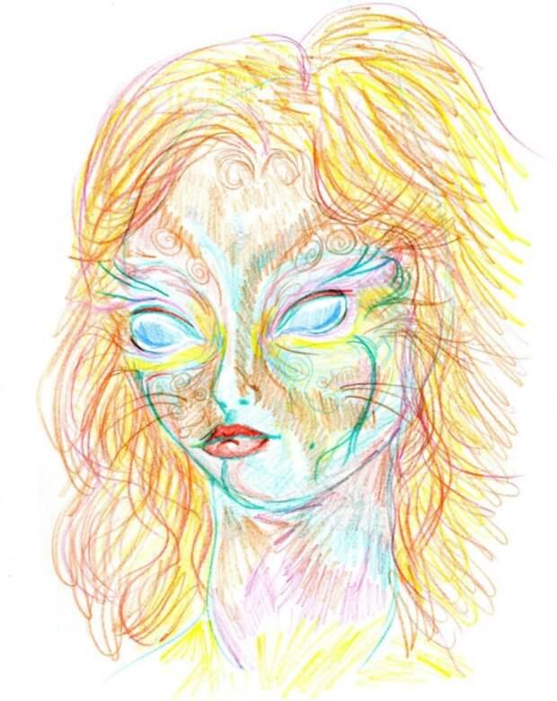 8 часов спустя. Через 45 минут в темноте, слушая Pink Floyd, она начала рисовать снова. «Когда я рисовала предыдущий рисунок, я пыталась нарисовать то, что было в моей голове, но в середине я поняла, что реальность вышла за пределы моей головы».