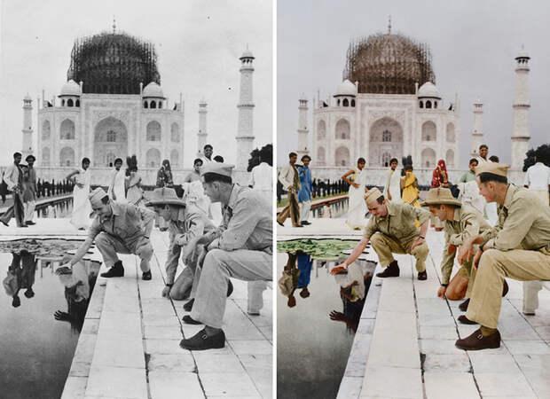 Раскрашенные снимки известных достопримечательностей в момент их реконструкции или строительства