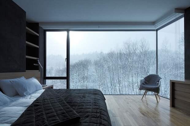 10 уютных спален с чарующими зимними видами из окна