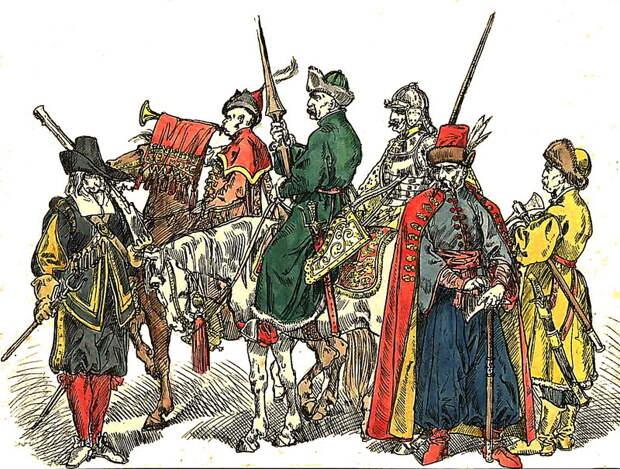 Коронные и литовские жолнеры. Рисунок Яна Матейко. upload.wikimedia.org - Деньги, политика и любовь к Родине | Warspot.ru