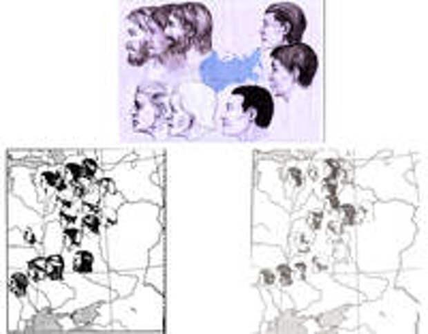 Рис.9. Пример картографирования с помощью графических реконструкций: антропологическая карта неолитического населения Евразии (стрелки указывают географическое местонахождение нахо¬док) (вверху), б) антропологическая карта расселения славянских племен на территории Восточной Европы (графические реконструкции мужчин)(снизу)