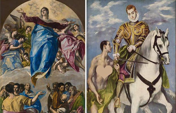 Работы Эль Греко: «Вознесение Девы Марии» (1577—1579), одна из девяти работ, написанных Эль Греко для монастыря святого Доминика в Толедо / «Святой Мартин и нищий» (1597–1599)