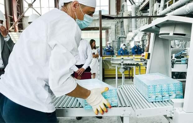 На Крымском содовом заводе запустили новую упаковочную линию