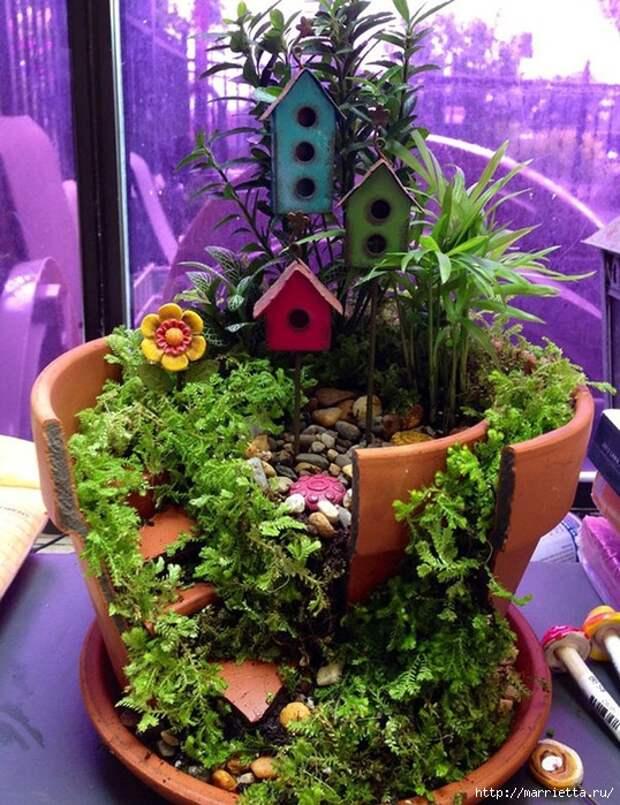Миниатюрный сад из цветочного горшка. Идеи (15) (538x700, 379Kb)