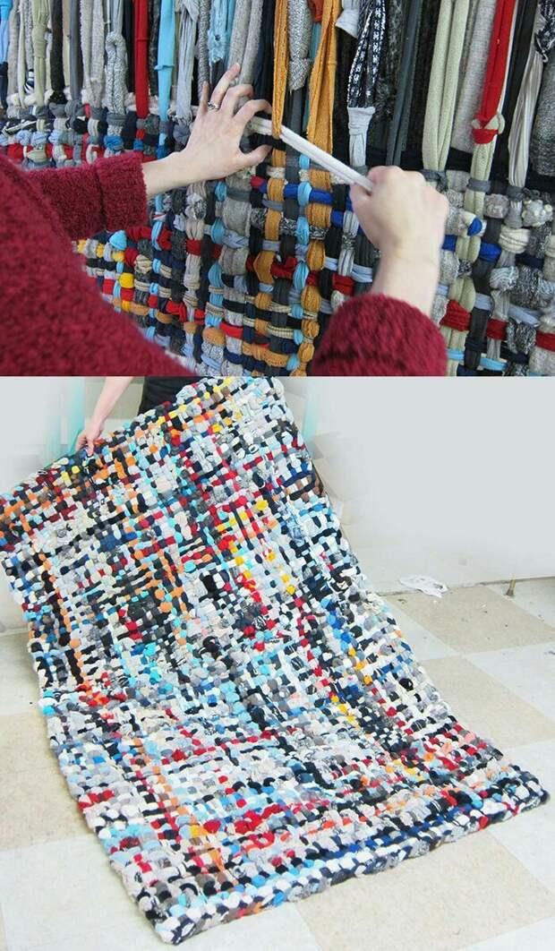 Тканный коврик из одежды