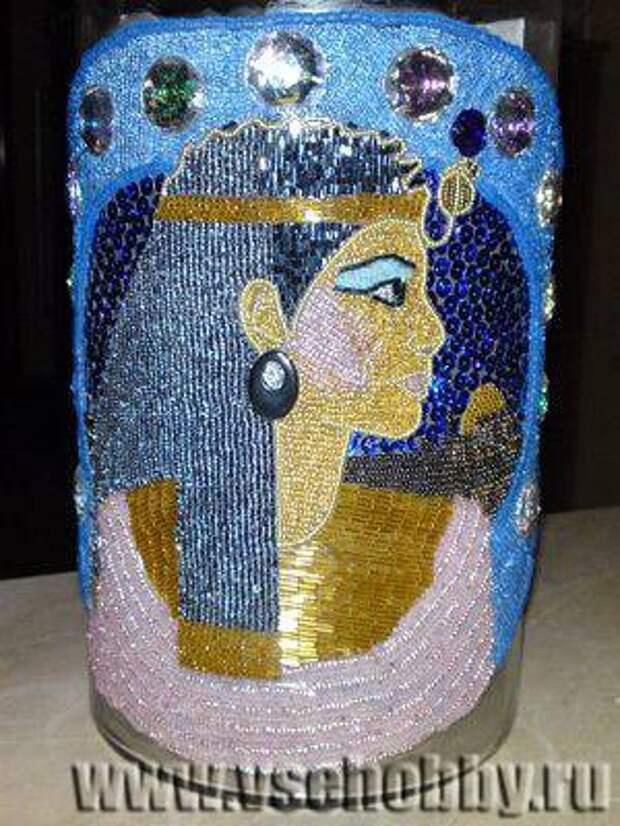 декорируем вазу бисером технология заполнения рисунка по частям