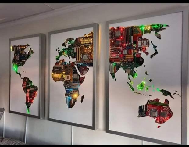 Карта мира из компьютерных материнских плат