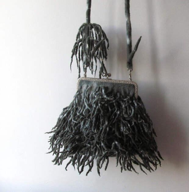 Felted handbag Grey  fringe  purse locks hand dyed