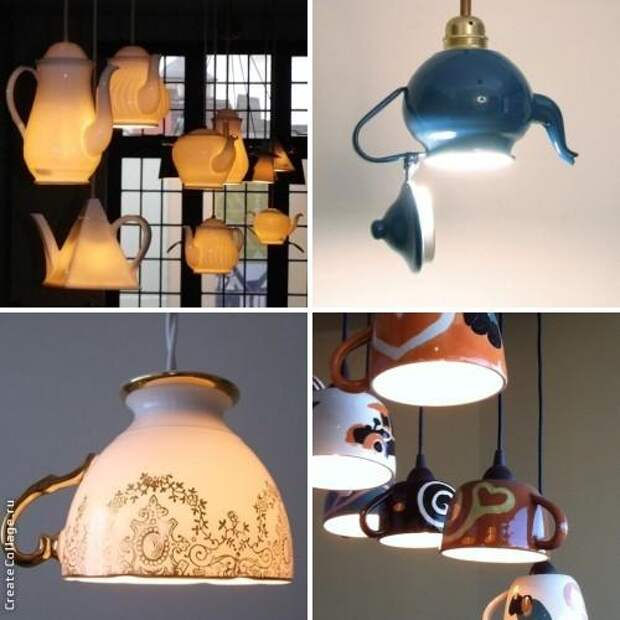 Светильники из чашек и чайников