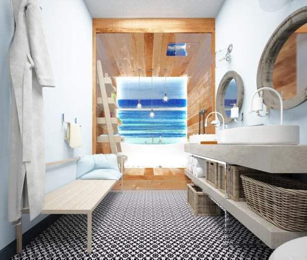 Ванная комната в морском стиле, тиковое дерево в ванной