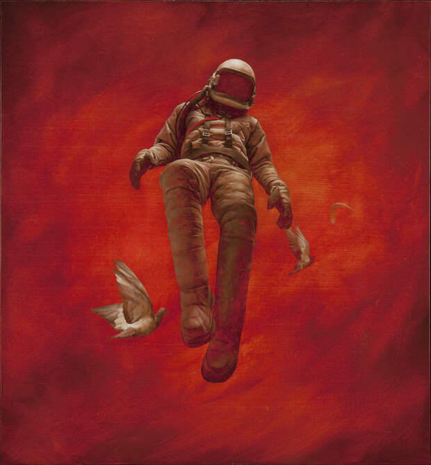 Человек в открытом космосе на гиперреалистичных картинах
