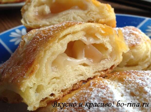 Десертный вихрь.  Быстрое слоёное тесто и слойки с яблоками
