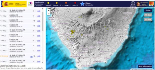 Ученые опасаются извержения вулкана на Тенерифе