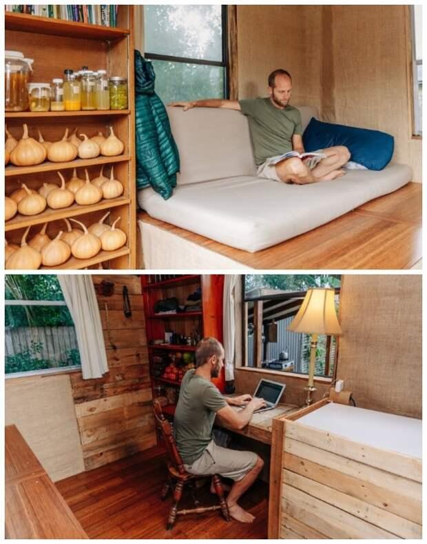 Внутри дома-будки удалось создать зону сна, отдыха и рабочее место («Teeny Greeny», США).   Фото: robgreenfield.tv.