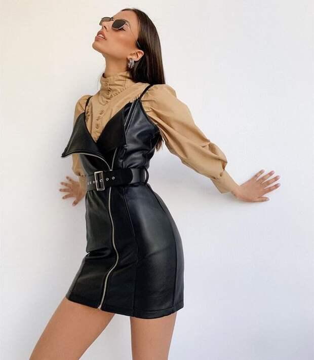 Модные кожаные платья 2021: новинки сезона, тренды